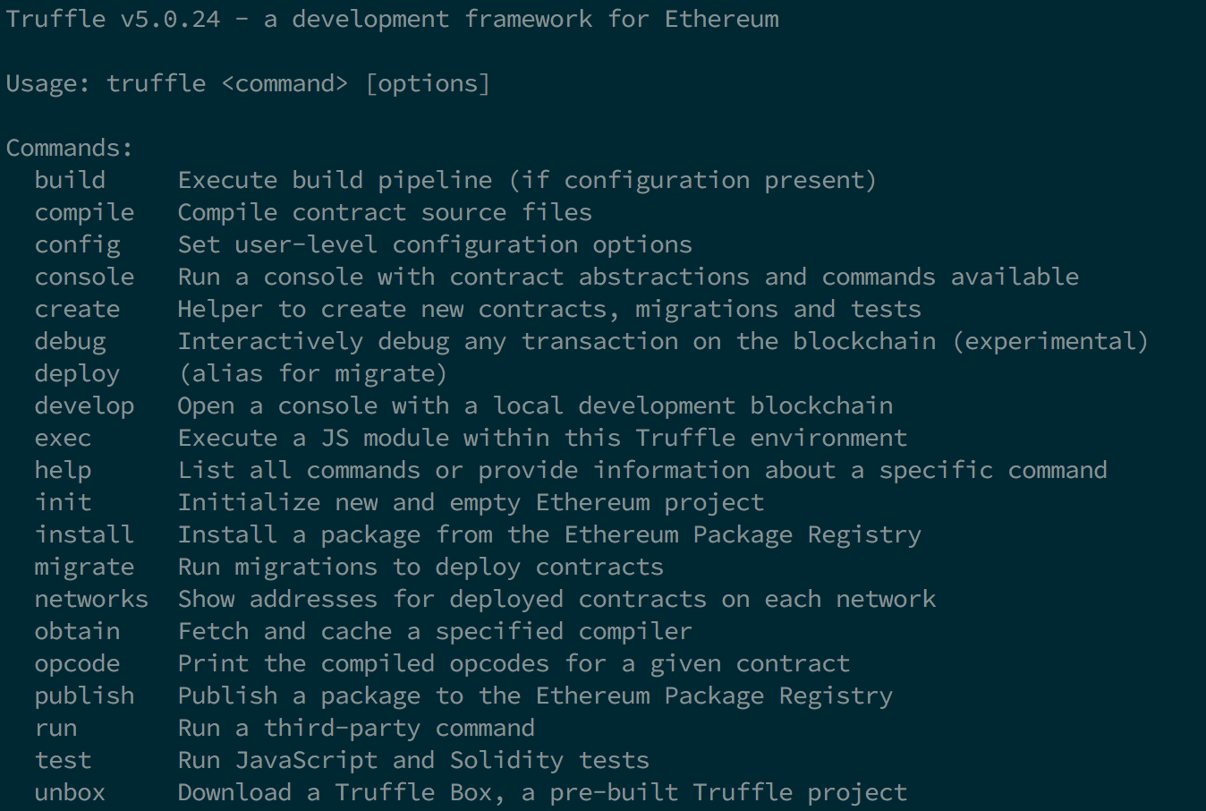 Truffle built-in commands
